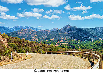 montañas, cerdeña, camino, buggerru