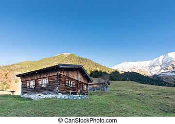 montañas, chalet, sol, choza, otoño, austríaco, quemado, ...