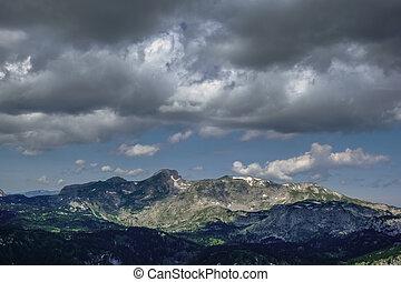 montañas, cielo, oscuridad, rainclouds, maravilloso