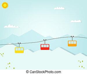 montañas, coche, cabañas, cable, grupo