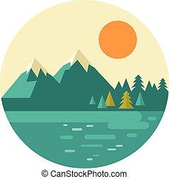 montañas, colinas, naturaleza, vendimia, bosque, vector, ...