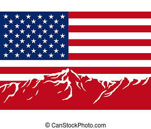 montañas, con, bandera, de, estados unidos de américa