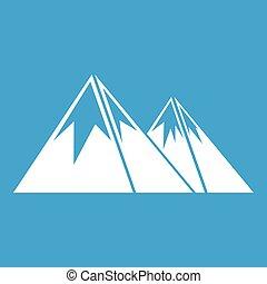 montañas, con, nieve, icono, blanco