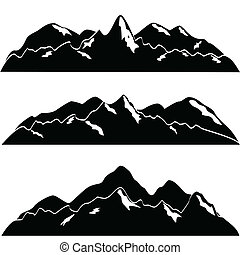 montañas, con, nieve