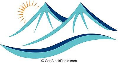 montañas, con, sol, logotipo