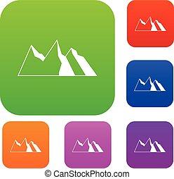 montañas, conjunto, colección
