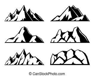 montañas., conjunto, de, seis, negro, iconos