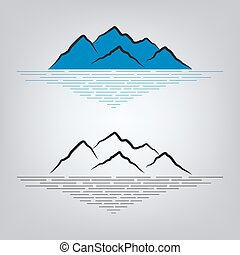 montañas, conjunto, emblema