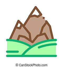 montañas, contorno, nieve, vector, ilustración, icono