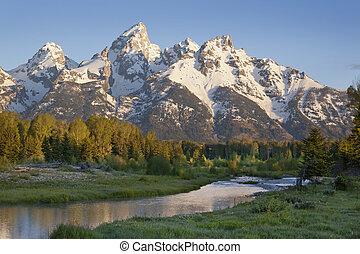 montañas, corriente, luz, mañana, grand teton