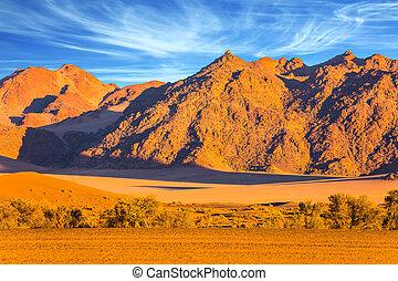 montañas, de, el, desierto de namib