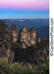 montañas, de, el, tres hermanas, australia