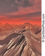 montañas, de, marte