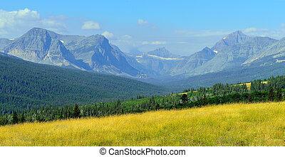 montañas, de, montana, y, un, pradera, cerca, parque...