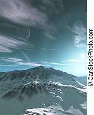 montañas, de, un, extranjero, planeta