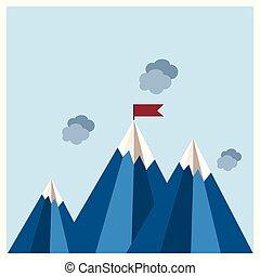 montañas, diseño, vector, nubes