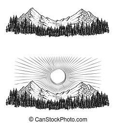 montañas, ellos, conífero, sol, mano, vector, bosque, ilustraciones, dibujado