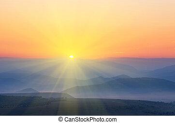montañas, encima, rayos, subidas, sol