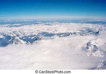 montañas, fotografía, aéreo, tibet, himalayan, hengduan