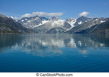 montañas, glaciar, nacional, alaska, bahía, parque