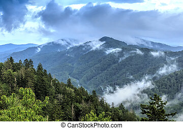 montañas, grande, natural, ahumado, paisaje