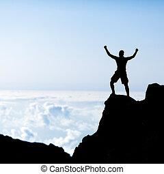 montañas, hombre, silueta, éxito, montañismo