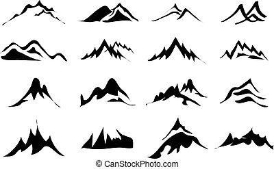 montañas, iconos, conjunto