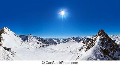 montañas, innsbruck, -, recurso, austria, esquí