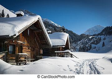 montañas, invierno de madera, nieve, casas, terreno, ...