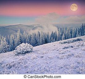 montañas, invierno, encima, luna que sube, helado