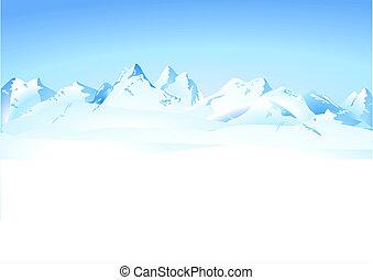 montañas, invierno, panorama