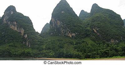 montañas, jiang, panorama, detalle, li río, selva, china, guilin