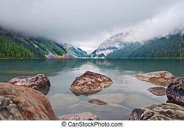 montañas, lago, rocoso, louise