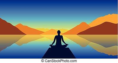 montañas, lago, silueta, meditación, plano de fondo, otoño