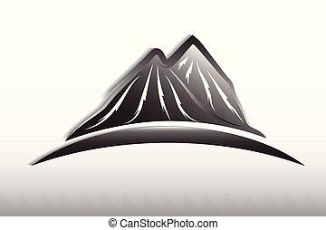 montañas, logotipo, diseño