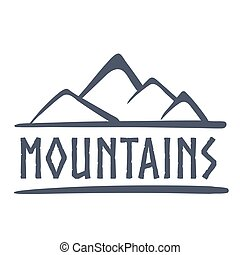 montañas, logotipo, vector, ilustración
