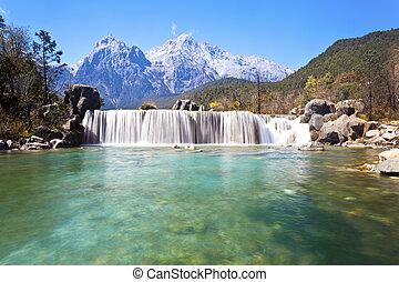montañas, luna azul, valle, paisaje, china., lijiang
