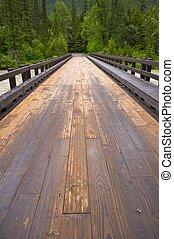 montañas, madera, puente