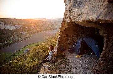 montañas, mujer, silueta, deportivo, ocaso