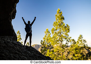 montañas, mujer, silueta, excursionismo, éxito, ocaso