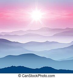 montañas, niebla, plano de fondo, sol