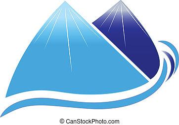 montañas, nieve, y, ondas, vector, icono, diseño, compañía