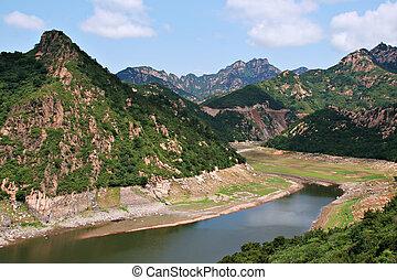 montañas, norteño, escénico, cima, china, vista