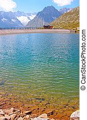 montañas, nubes, alpes, mañana, lago, reflejar, suiza