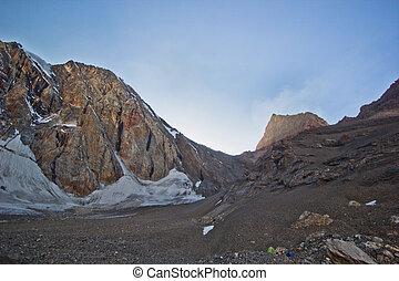 montañas, ocaso, campamento