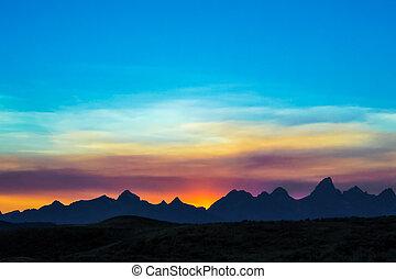 montañas, ocaso, teton