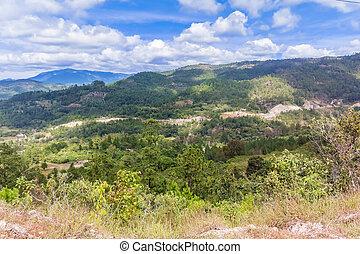 montañas, paisaje, y, el, camino, cerca, yamaranguila, en, honduras.