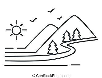 montañas, río, bosquejo, paisaje, colinas, bosque, contorno