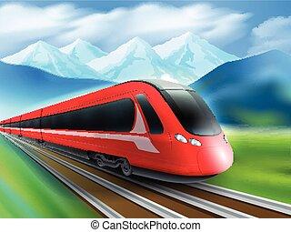 montañas, realista, velocidad, plano de fondo, cartel, tren