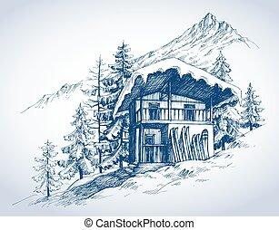 montañas, recurso, choza, esquí
